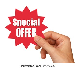 hand holding special offer star with clipping path