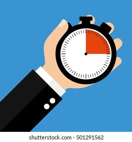 Hand holding Stopwatch showing 15 Seconds 15 Minutes or 3 Hours - Flat Design