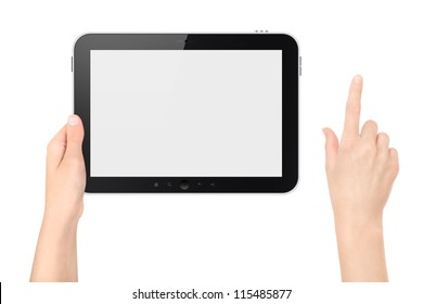 Hand holding tablet pc with touching hand. High quality and very detailed realistic illustration of android tablet pc. Add clipping path for touching hand. Isolated on white.
