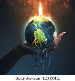 A hand holds up an Earth that is melting from the fire. Elements provided by NASA