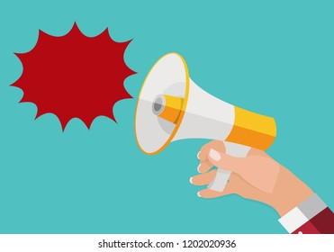 Hand holds Megaphone and outgoing Speech Bubble.  Illustration.