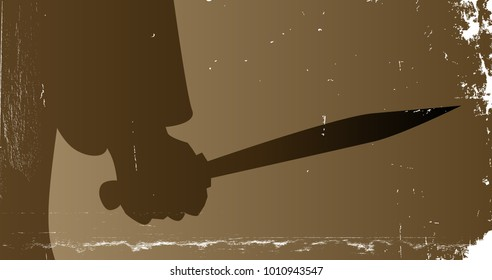 The hand of Jack the Ripper holding his knife in a sepia grunge style