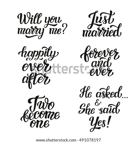 Hand Lettering Typography Wedding Set Romantic Stock Illustration Mesmerizing Just Married Quotes