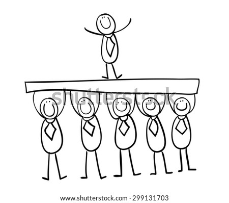 hand line drawing cartoon stick figures stock illustration 299131703