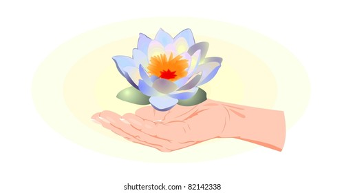 hand with lotus flower