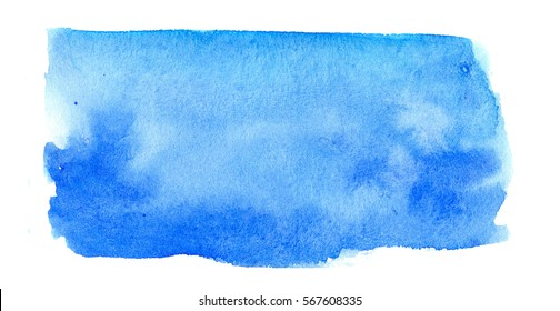 hand made abstract watercolor texture in blue color on white background