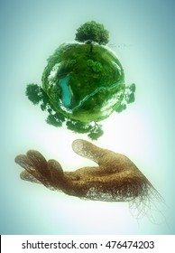 hand made of branches holding a green planet; 3D illustration