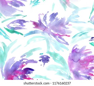 hand made floral watercolor background / painted flowers for invitation or greeting card