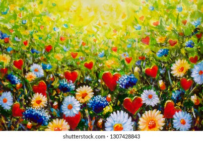 hand made flowers and hearts field oil painting. flower - heart art artwork on canvas illustration modern