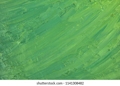 Hand made green oil grungy brush strokes background.