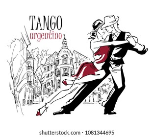Hand made sketch of tango dancers with city background.  Use for tango studio posters, flayers, web-sites. Tango inscription.