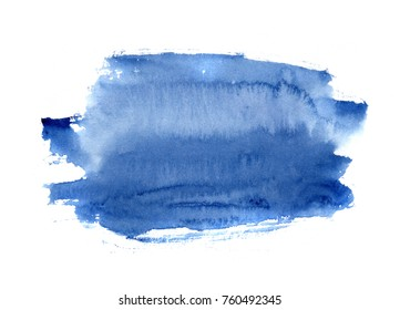 hand made watercolor blue wash texture / abstract artistic painted stain isolated on white background