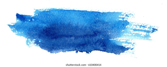 hand made watercolor brush stroke stain in blue color, isolated on white background