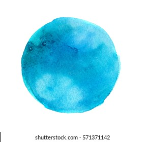 hand made watercolor circle shaped stain, isolated on white background, abstract artistic element