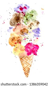 hand made watercolor ice cream isolated on white background, summer painted sweet