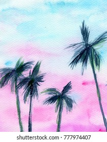 hand made watercolor sunset with palms / summer artistic painted background