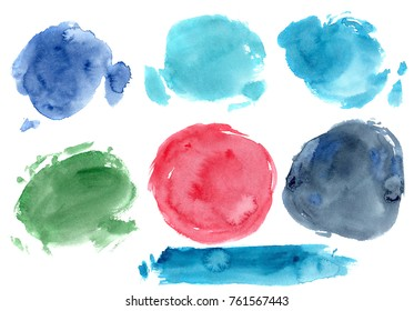 hand made watercolor texture / abstract artistic painted circle stain isolated on white background