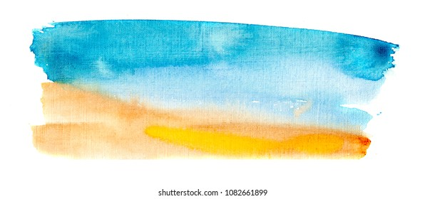 hand made watercolor texture of beach and sea / abstract summer background