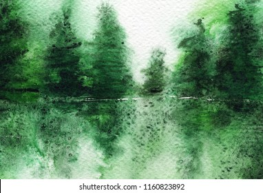 hand made watercolor trees / artistic painted background for nature design