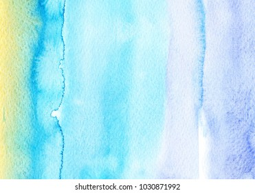 hand made watercolor wash texture representing dea and beach / summer abstract artistic painted background