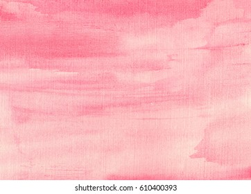 hand made watercolor wash texture in coral pink colors, artistic painted background