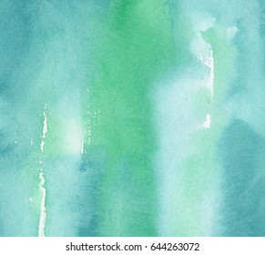 hand made watercolor wash texture in turquoise blue color, abstract background