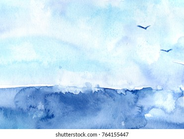 hand made watercolor wash texture representing sea and sky / summer artistic painted background