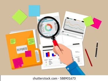 Hand with magnifying glass, analysis of financial report. Financial audit concept. Auditing tax process. illustration in flat design