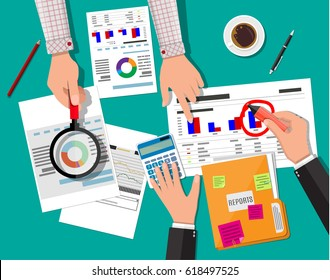 Hand with magnifying glass and calculator, analysis of financial report. Financial audit concept. Calculation. Auditing tax process. Business background. illustration in flat design