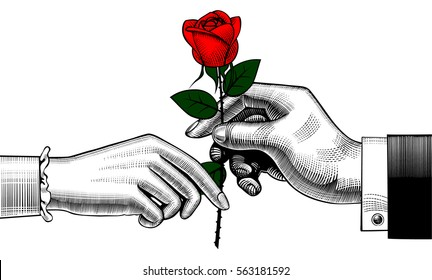 Hand of man give a red rose to woman. Retro style valentine greeting card design. Vintage color engraving stylized drawing