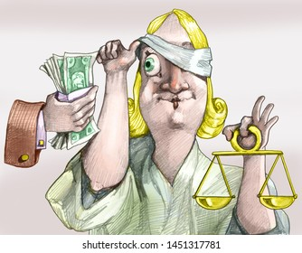 a hand offers money to justice and she moves the bandage to look greedy political cartoon