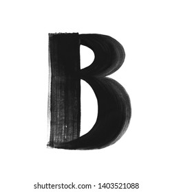 Hand paint letter B. Handwritten calligraphic black ink alphabet. Brush stroke art.
