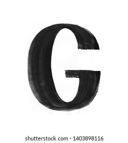 Hand paint letter G. Handwritten calligraphic black ink alphabet. Brush stroke art.