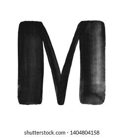 Hand paint letter M. Handwritten calligraphic black ink alphabet. Brush stroke art