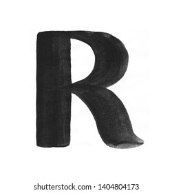 Hand paint letter R. Handwritten calligraphic black ink alphabet. Brush stroke art