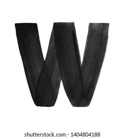 Hand paint letter W. Handwritten calligraphic black ink alphabet. Brush stroke art
