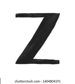 Hand paint letter Z. Handwritten calligraphic black ink alphabet. Brush stroke art