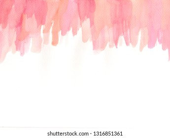 hand paint watercolor frame in pink living coral tone, abstrack background, space for text, brush stroke texture. color of the year 2019.