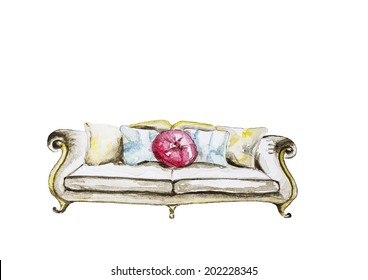 Hand paint watercolor sofa pattern. (Can be used as texture for cards, invitations, DIY projects, web sites or for any other design.