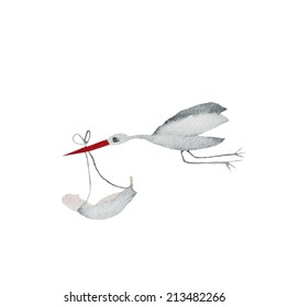 Hand paint watercolor stork with baby pattern. (Can be used as texture for cards, invitations, DIY projects, web sites or for any other design.