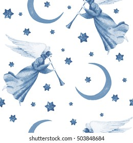 Hand paint watercolor trumpeting flying angels with stars and moon, seamless pattern