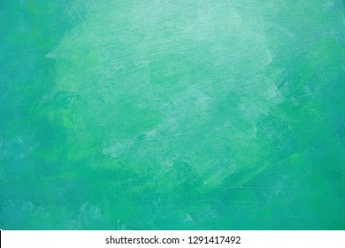 Hand painted abstract texture with acrylics on paper, underwater scene, mix of green and turquoise blue