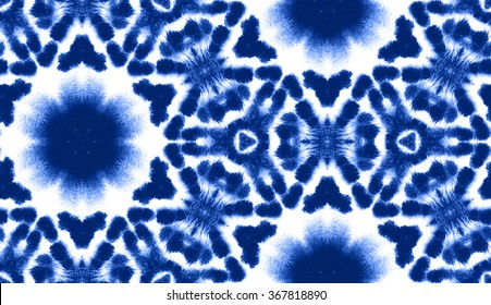 Hand painted abstract watercolor shibori seamless pattern for textile and surface design in china blue color. Ornament for swimwear