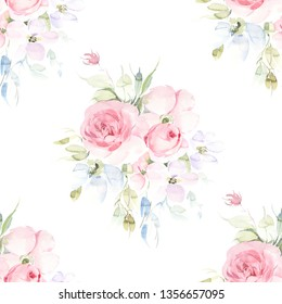 Hand painted allover seamless watercolor rose flower bunch with leaves on a white background in repeat