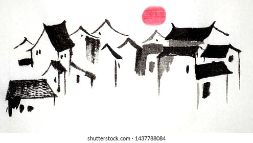 Hand painted ancient Chinese traditional Qing Dynasty and Ming Dynasty palace country poetic beautiful architectural house and sunset