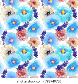 Hand painted artistic composition. Anemone and Periwinkle flowers and leaves. Seamless pattern. Spring watercolor flowers. Repeating wallpaper design.