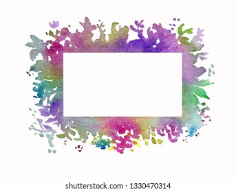 Hand painted beautiful floral watercolor frame for wedding or birthdy invitation design. Isolated on white background. Fresh and bright colors.