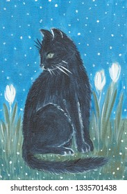 hand painted black cat in the garden with white tulips