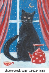 hand painted black cat with red kettle