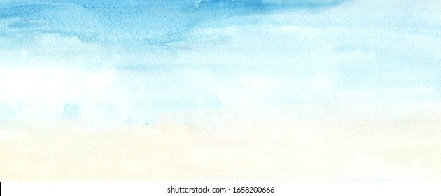 Hand painted blue sky and yellow abstract watercolor background. Hand drawn grunge backdrop for banner, greeting card, website, invitation, celebration